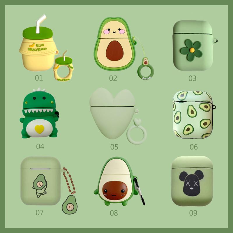 귀여운 캐릭터 실리콘 에어팟 케이스 아보카도 바나나우유