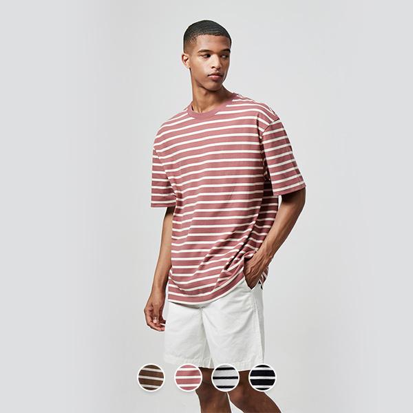 [지오다노]01020521오버핏 반팔 티셔츠(패턴)020521