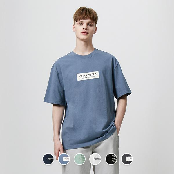 [지오다노]01090510오버핏 프린트 반팔 티셔츠090510