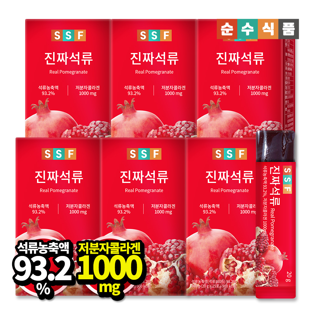 순수식품 진짜 석류 저분자 콜라겐 젤리 스틱 6박스(90포) 저분자콜라겐 석류젤리