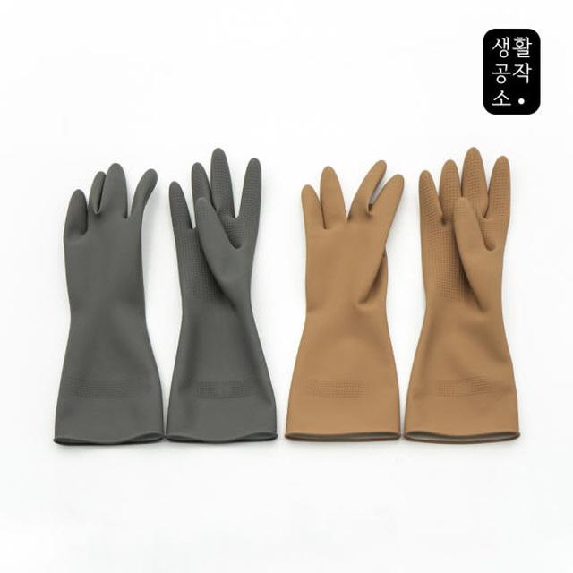 [LIVINGCRAFTS] 橡膠手套 5片 一般型 (灰色/米色)